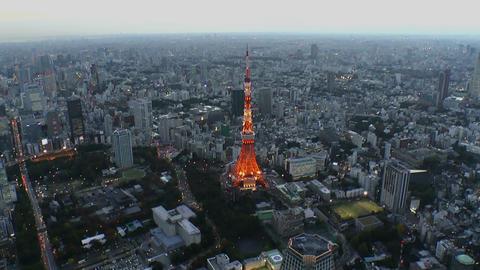 Tokyo tower light up Aerial Shoot in Tokyo,Japan ビデオ