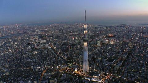 Tokyo Skytree light up Aerial Shoot in Tokyo,Japan Footage