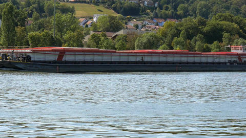 Boat on the Danube in Vilshofen, Bavaria, Germany Footage