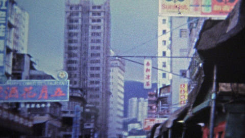 1973: Suzie Wong Bar street signs scenes in Hong Kong Footage