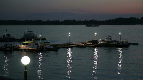 Night View Of The River Volga stock footage