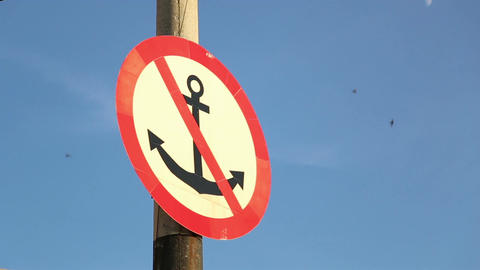 "Marine sign ""Not to throw an anchor"" Live Action"