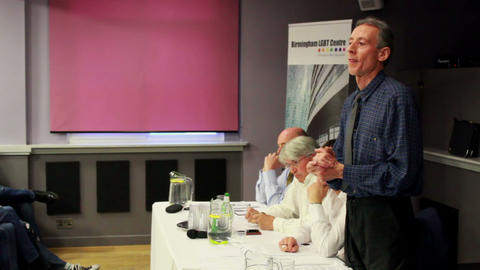 Peter Tatchell Controversial Talk About Cuts stock footage