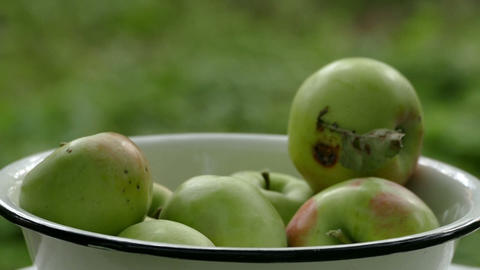 Apples Fall In The White Bowl stock footage