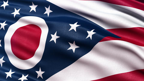 4K Ohio state flag seamless loop Ultra-HD Animation