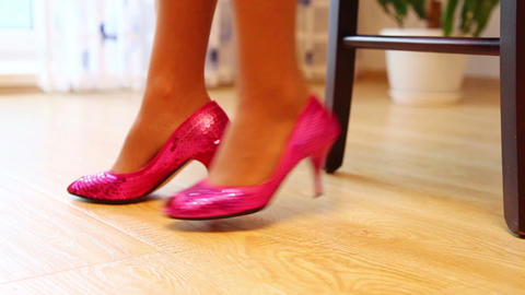 Young Woman Wears Shoes On High Heels Footage
