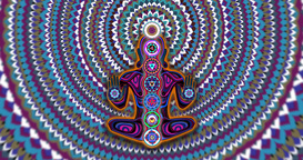 Meditation leading to the enlightenment. Chakras opening Animation