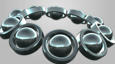 Rolling metal tubes and spheres Seamless Looped Background Animation