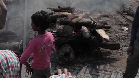Burning of corpses at Ghat in Varanasi, India Footage