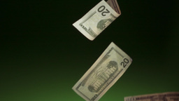 10 Dollars Banknotes Falling In Super Slowmotion 240p Footage