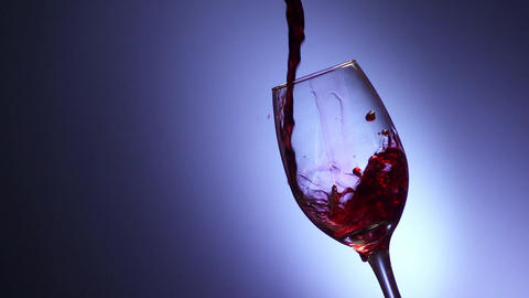 8 Glass Filled With Red Wine In Super Slowmotion 240p Footage