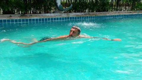 Man In Swimming Pool Footage