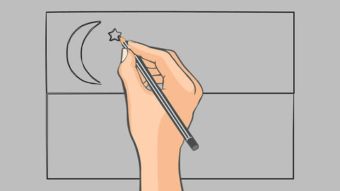 Hand Drawn Flag Of Singapore Animation stock footage