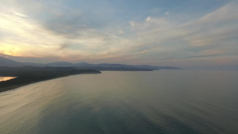 drone flights over the ocean on the island of Sakhalin ビデオ