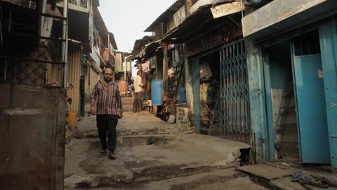 Indian Slum -in side Dharavi , Mumbai Live Action