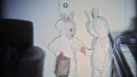 1951: Creepy Halloween kids bunny costumes Footage