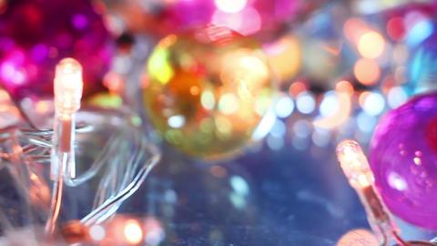 blinking lightbulbs and christmas balls close-up Footage