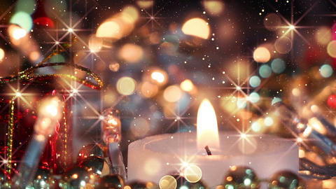 candle and glitter particles loopable christmas background Animation