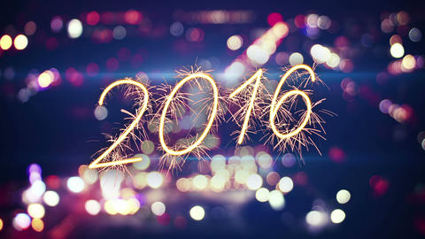 2016 new year sparkler text and city bokeh lights 4k (4096x2304) Animation