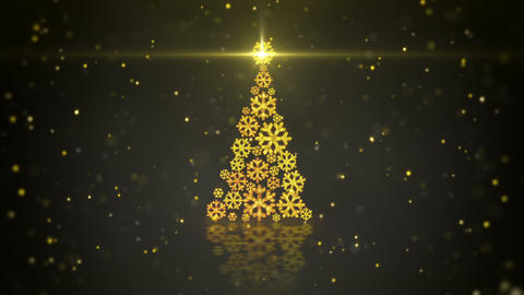 gold christmas tree shape of glowing snowflakes loop Animation