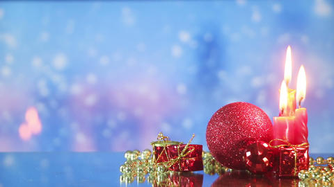 christmas decorations and snowfall loopable background Footage