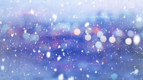 defocused lights evening wintry city and snowfall loop 4k (4096x2304) Animation