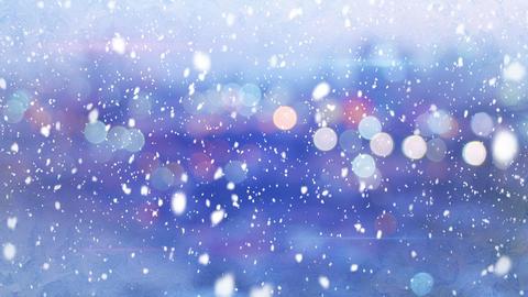 defocused lights evening wintry city and snowfall loop 4k (4096x2304) Animation