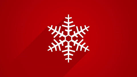 snowflake shape with long shadows on red 4k (4096x2304) Animation
