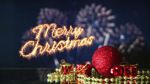 merry christmas celebration with fireworks last 10s loopable Footage
