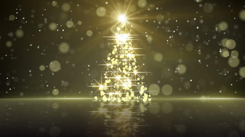 christmas tree shape of gold glares loopable CG動画素材