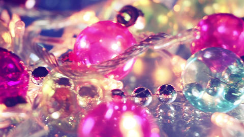 blinking lightbulbs and christmas balls close-up panning Footage