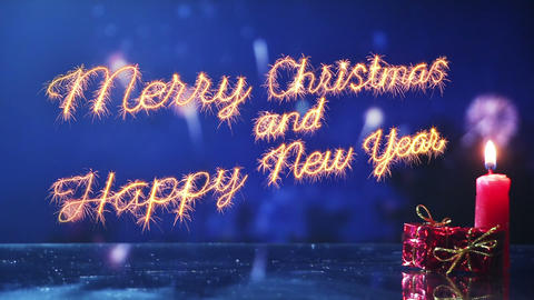 merry christmas and new year greeting last 10 seconds loop Footage
