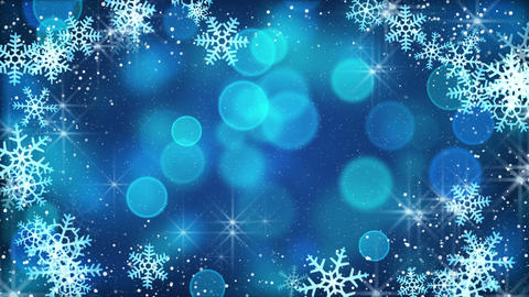 blue snowflakes and blinking stars loopable background Animation