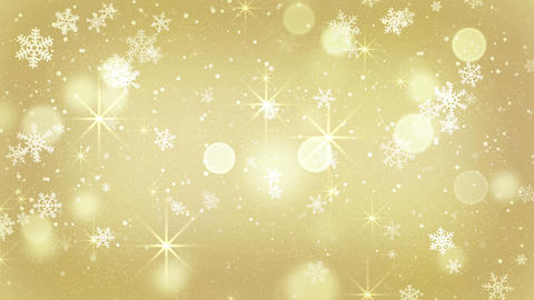 golden snowflakes and stars falling seamless loop 4k (4096x2304) Animation