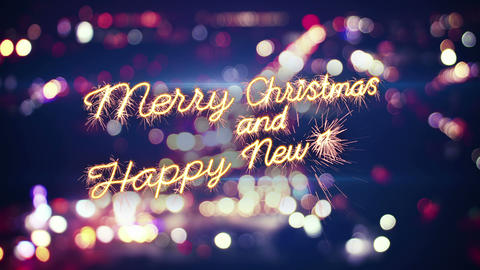 merry christmas sparkler greeting and city bokeh last 5 seconds loop 4k (4096x23 CG動画素材