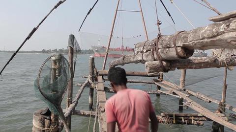 Indian fishers on the sea coast, Fort Kochi, India Footage