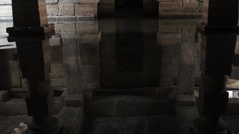 Flooded Indian Temple, Hampi, India stock footage