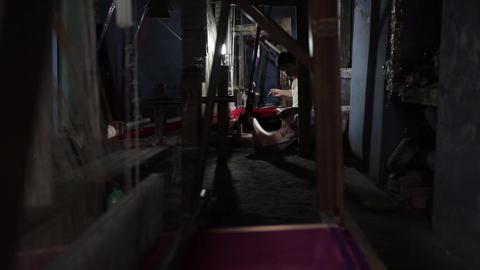 Silk factory in Varanasi, India Footage