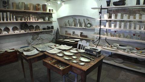Souvenir shop of ceramics. 4K Footage