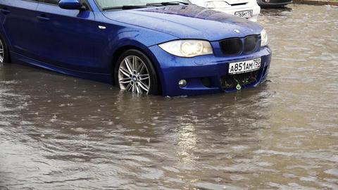 Heavy rain, flood, element in Petersburg. 4K Footage