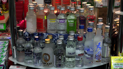 Bottle of vodka on the shelf. 4K Footage