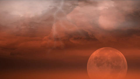 red planet with clouds and lightnings Stock Video Footage