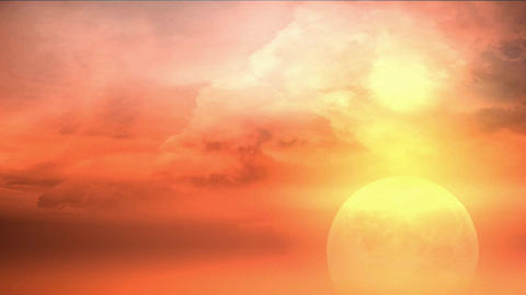 red planet with clouds and lightnings Animation