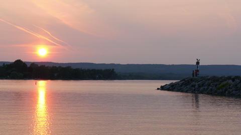 Couple viewing sunset at lake huron,canada,ontario Footage