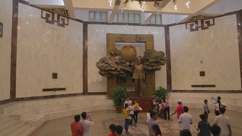 pan - tourists in atrium of the Ho Chi Minh museum Footage