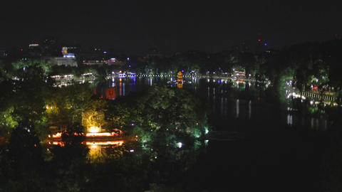 night aerial of hoan kiem lake Footage