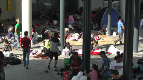 Syrian Migrants at the Eastern Railway Station in Budapest Hungary 15 Footage