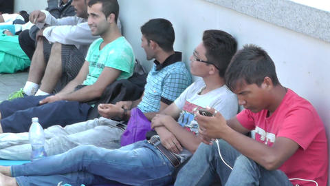 Syrian Migrants at the Eastern Railway Station in Budapest Hungary 18 closeup pa Footage