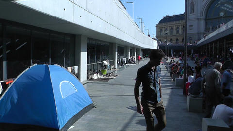 Syrian Migrants at the Eastern Railway Station in Budapest Hungary 54 walking tr Footage
