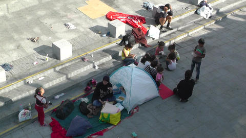 Syrian Migrants at the Eastern Railway Station in Budapest Hungary 8 high angle Live Action